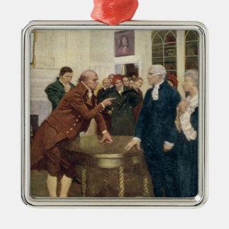最後の通告を提供している愛国者の委員会 シルバーカラー正方形オーナメント