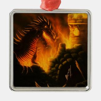 最後の防衛ファンタジーのドラゴン シルバーカラー正方形オーナメント