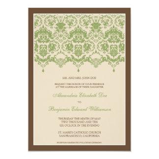 最愛のダマスク織のレース5x7の結婚式招待状: 賢人 カード