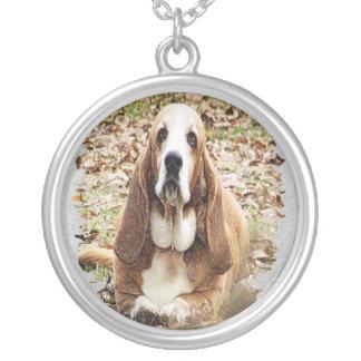 最愛のバセット犬 シルバープレートネックレス