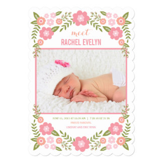 最愛の人は発表-白誕生の咲きます 12.7 X 17.8 インビテーションカード