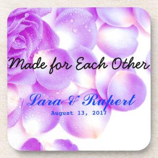 最近のための紫色のバラの結婚式のコースターはカップルを結婚します 飲み物コースター