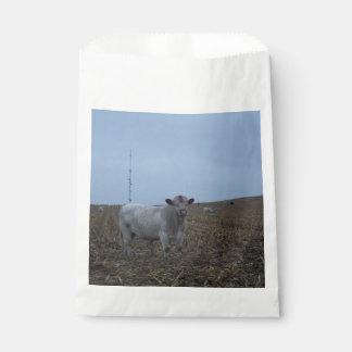 最近収穫されたアイオワのトウモロコシ畑の白いBull フェイバーバッグ