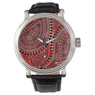 最高ペイズリー(バーガンディの赤) 腕時計