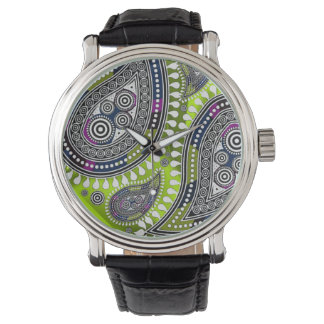 最高ペイズリー(木炭酸の緑) 腕時計