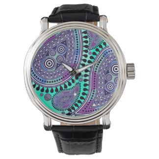 最高ペイズリー(紫色の水) 腕時計