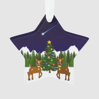 月およびヤナギのクリスマスの願いの木のオーナメント オーナメント