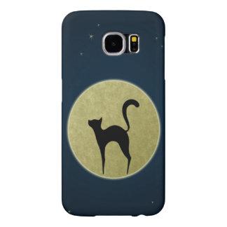月および夜空が付いている黒猫のシルエット SAMSUNG GALAXY S6 ケース