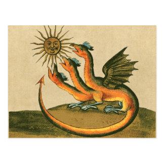 月および日曜日のセピア色の金ドラゴン ポストカード