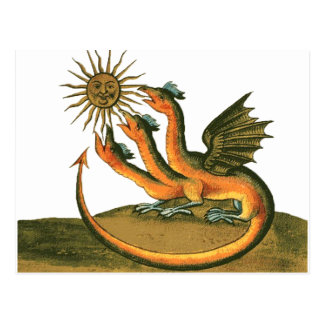 月および日曜日の錬金術のドラゴン ポストカード
