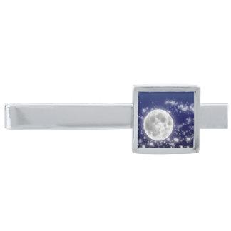 月および星のタイ・バー 銀色 ネクタイピン