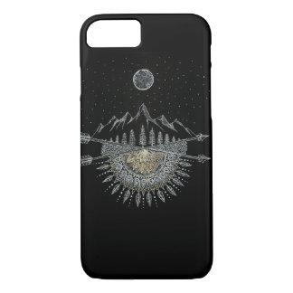 月および星の夜空の山地の曼荼羅 iPhone 8/7ケース