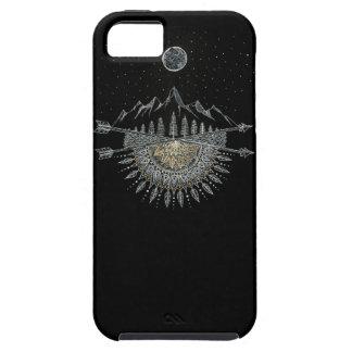 月および星の夜空の山地の曼荼羅 iPhone SE/5/5s ケース