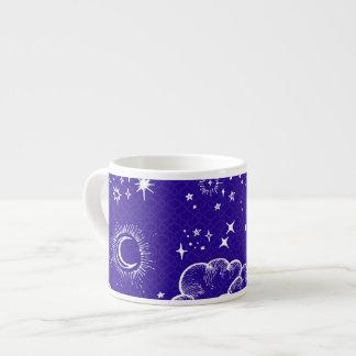 """""""月および星""""のエスプレッソのマグ(WH/BLU/PUR) エスプレッソカップ"""