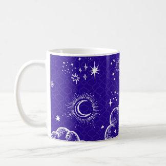 """""""月および星""""のクラシックなコーヒー・マグ(WH/BLU/PUR) コーヒーマグカップ"""