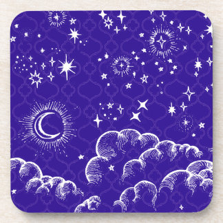 """""""月および星""""のプラスチックコースター(WH/BLU/PUR) コースター"""