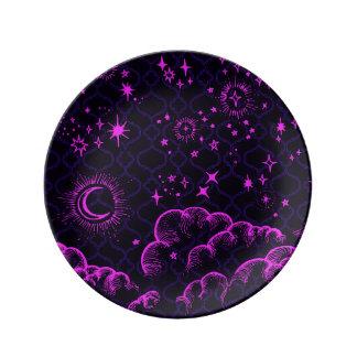 """""""月および星""""の装飾的なプレート(PK/BLK/PUR) 磁器プレート"""