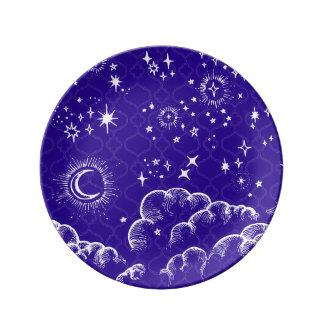"""""""月および星""""の装飾的なプレート(WH/BLU/PUR) 磁器プレート"""