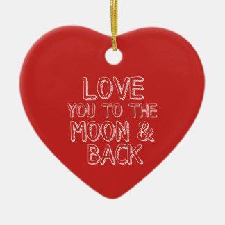月および背部赤いクリスマスのハートに愛して下さい セラミックオーナメント