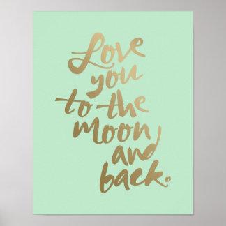 月および背部%PIPE%タイポグラフィポスターに愛して下さい ポスター