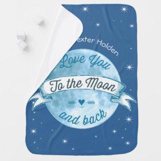 月および背部Lilの人の男の赤ちゃんに愛して下さい ベビー ブランケット