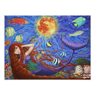月および魚が付いているコルセットの赤毛の人魚 ポスター