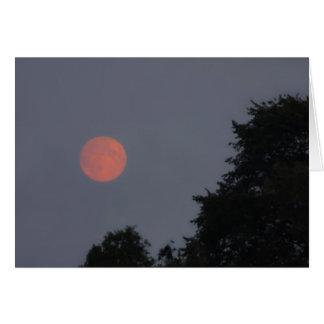 月が付いている夜空の背景 カード