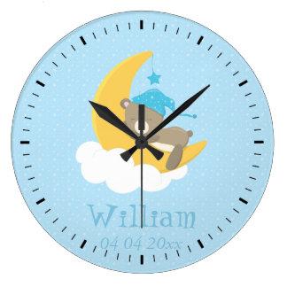 月で眠っている青色児くま-ベビーシャワー ラージ壁時計
