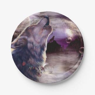 月で遠ぼえしているオオカミ ペーパープレート