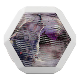 月で遠ぼえしているオオカミ ホワイトBluetoothスピーカー