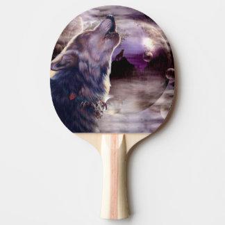 月で遠ぼえしているオオカミ 卓球ラケット