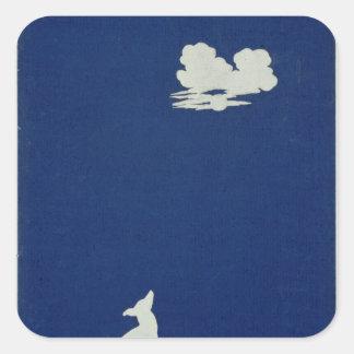 月で遠ぼえしている犬 スクエアシール