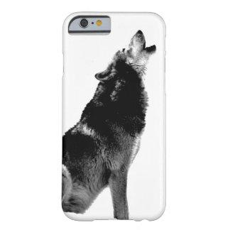 月で遠ぼえしている黒く及び白いオオカミ iPhone 6 ベアリーゼアケース