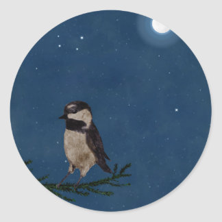 月との夜の鳥の芸術、北斗七星、星 ラウンドシール