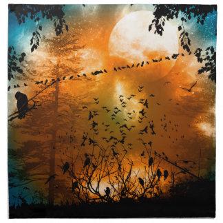月との日没の鳥 ナプキンクロス