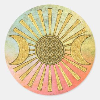 月との生命の花 ラウンドシール