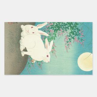 月と兎、古邨のウサギ及び月、Koson、Ukiyo-e 長方形シール