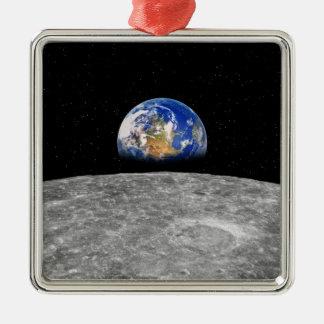 月に上がる惑星の地球 メタルオーナメント
