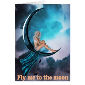 月に坐っている魅力的な女性 カード