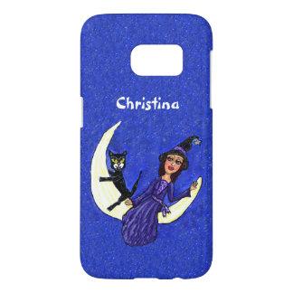月に坐っている黒猫が付いている魔法使いの紫色の服 SAMSUNG GALAXY S7 ケース