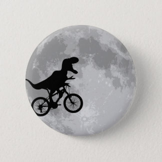 月のおもしろいの空のバイクの恐竜 5.7CM 丸型バッジ