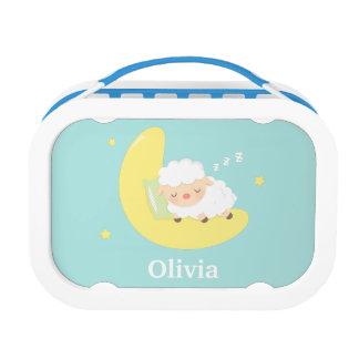 月のかわいい睡眠の赤ん坊の子ヒツジ ランチボックス