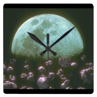 月のまわりの石。 (rocks_Space場面 スクエア壁時計