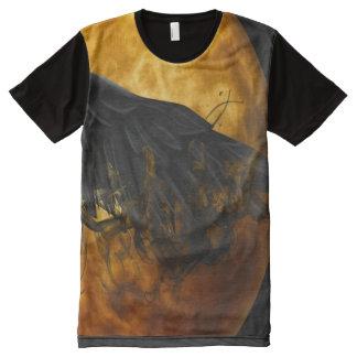 月のカラス オールオーバープリントT シャツ