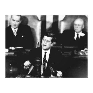 月のスピーチへのJohn F Kennedy大統領の人 キャンバスプリント