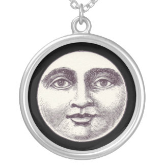 月のネックレスのビクトリアンな人 シルバープレートネックレス