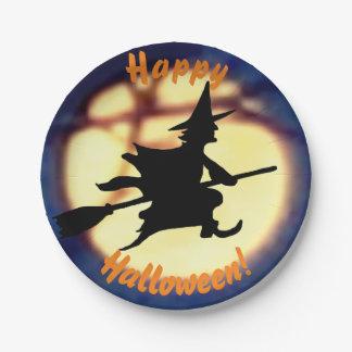 月のハロウィンの紙皿上の魔法使い ペーパープレート