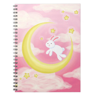 月のバニーのピンク ノートブック