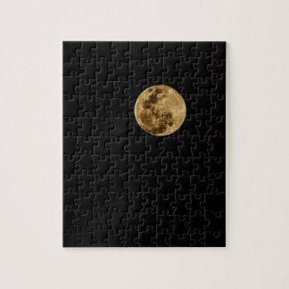 月のパズルの黒の背景 ジグソーパズル