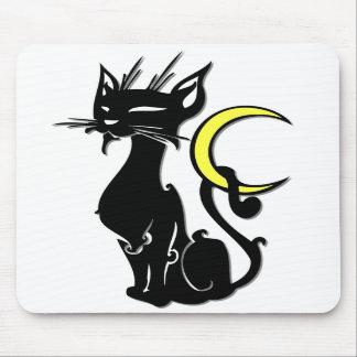 月のマウスパッドの黒猫 マウスパッド